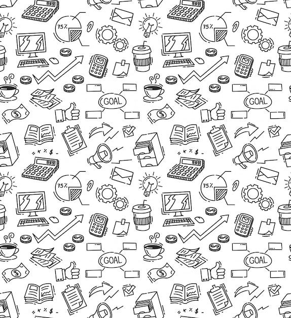 Fond transparent de doodle sur le thème entreprise Vecteur Premium