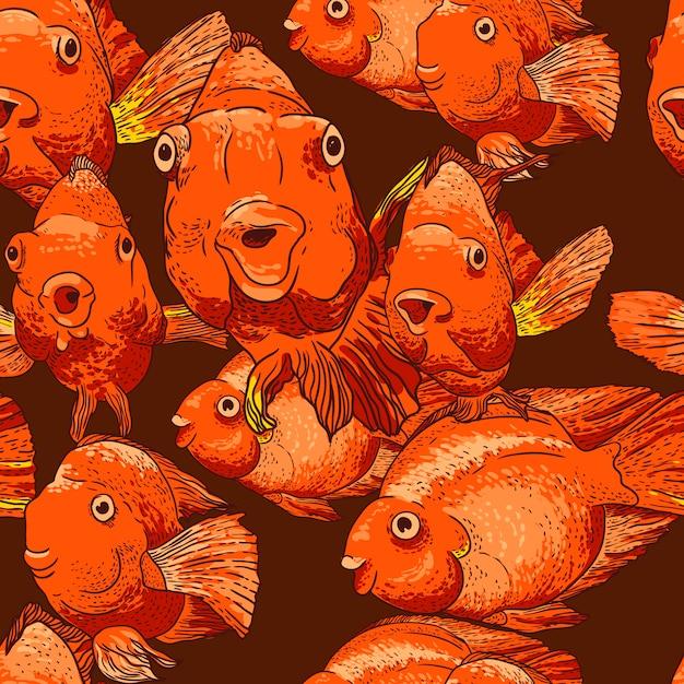 Fond transparent avec du poisson Vecteur Premium