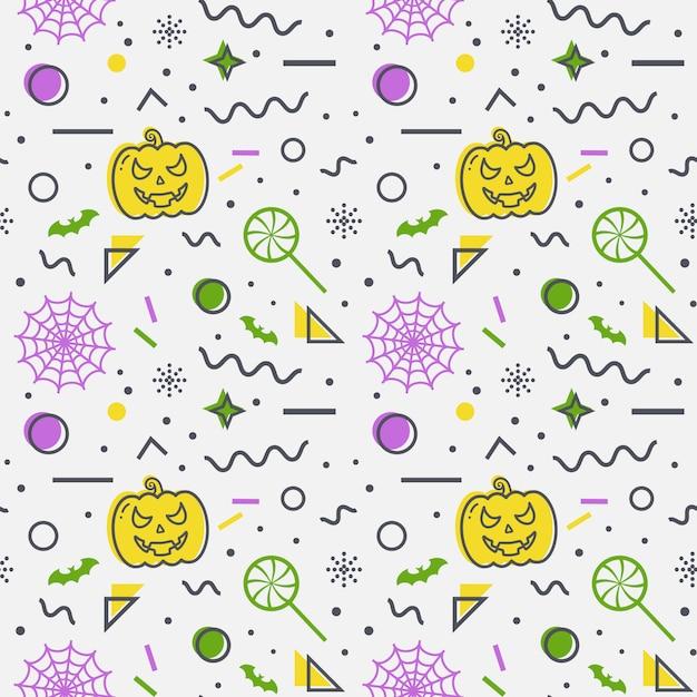 Fond transparent de halloween. motif de memphis. Vecteur Premium