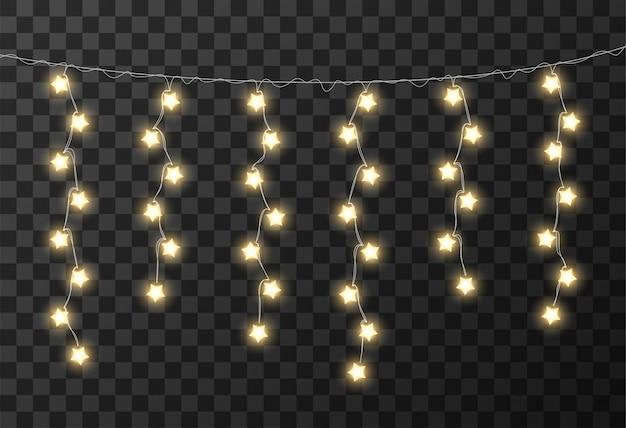Fond transparent de lumières de noël Vecteur Premium