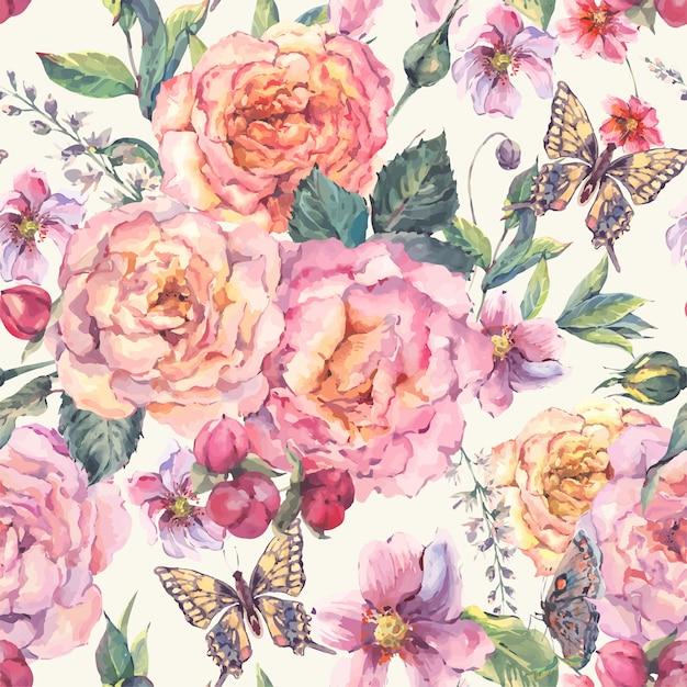 Fond transparent avec des roses et des papillons Vecteur Premium
