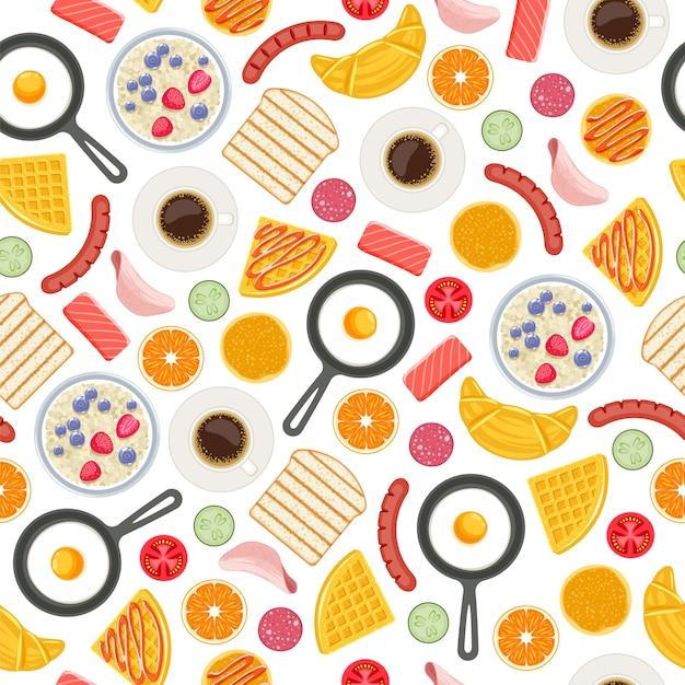 Fond Transparent De Symboles De Nourriture De Petit Déjeuner. Modèle. Vecteur Premium