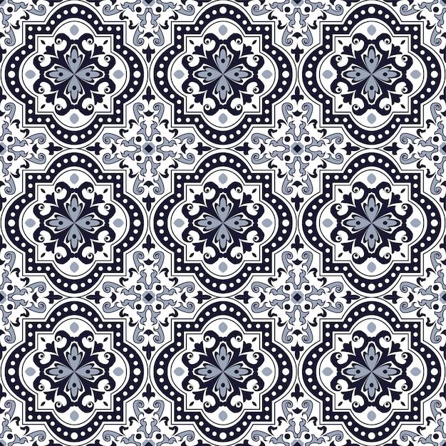 Fond Transparent, Ton Bleu Vintage Rond Motif Kaléidoscope Carré Courbe. Vecteur Premium