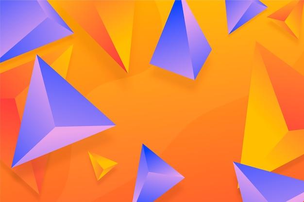 Fond de triangle 3d violet et orange Vecteur gratuit