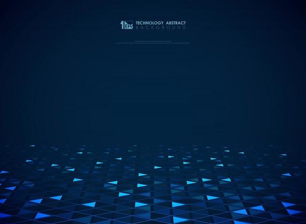 Fond de triangles de technologie bleue moderne futuriste Vecteur Premium