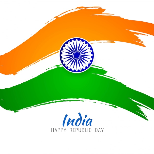Fond tricolore thème drapeau indien moderne Vecteur gratuit
