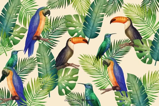 Fond tropical avec des animaux Vecteur gratuit