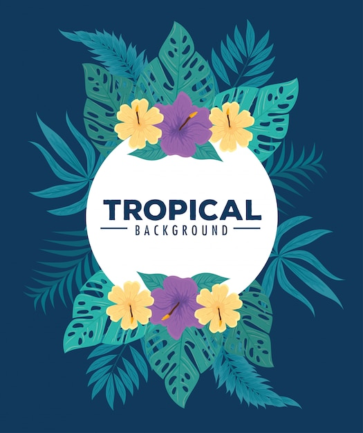 Fond Tropical, Cadre De Fleurs De Couleur Pourpre Et Jaune Avec Des Feuilles Tropicales, Décoration Avec Des Fleurs Et Des Feuilles Tropicales Vecteur Premium