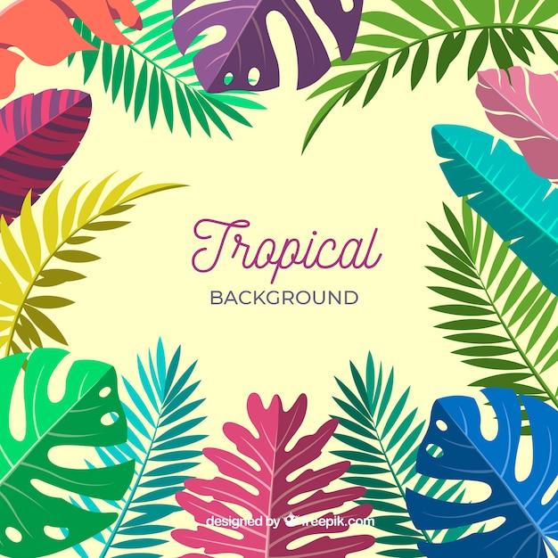 Fond tropical coloré avec des feuilles et des fleurs Vecteur gratuit