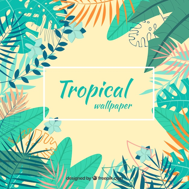 Fond tropical coloré avec des feuilles Vecteur gratuit