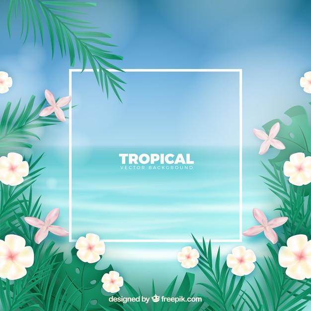 Fond tropical avec un design réaliste Vecteur gratuit