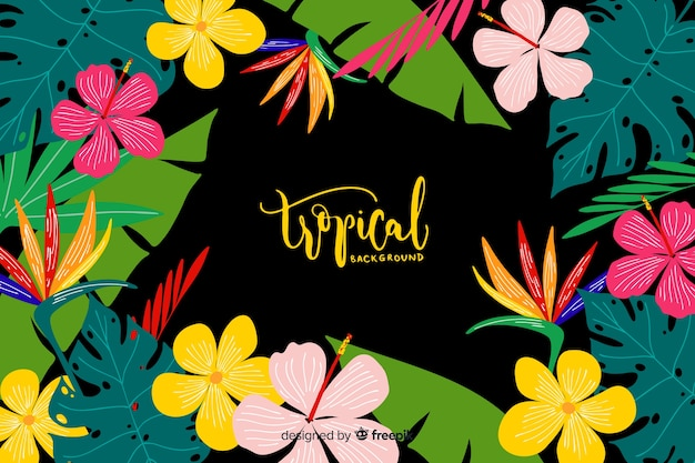 Fond tropical dessiné à la main Vecteur gratuit