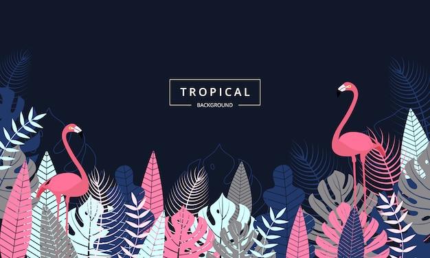Fond tropical exotique orné de feuilles de palmier et d'oiseau flamant rose Vecteur Premium