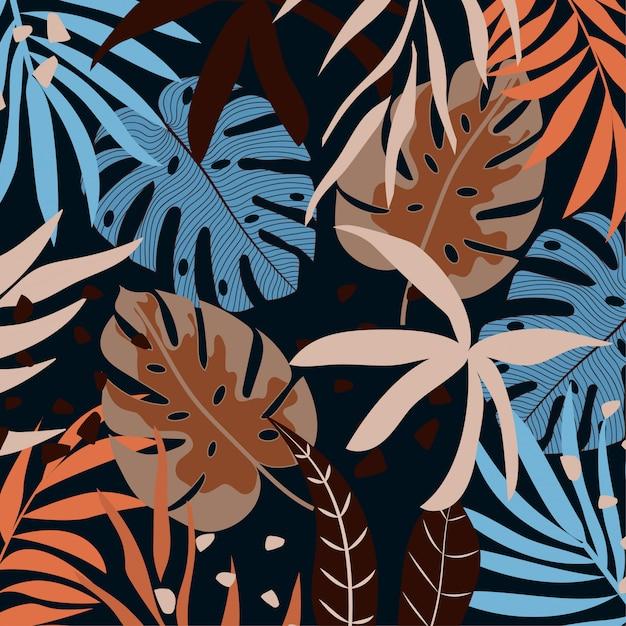 Fond tropical avec des feuilles et des plantes colorées Vecteur Premium