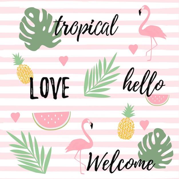 Fond tropical avec des flamants roses, pastèque et ananas Vecteur Premium