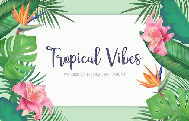 Fond tropical avec des fleurs et des feuilles d'aquarelle Vecteur gratuit