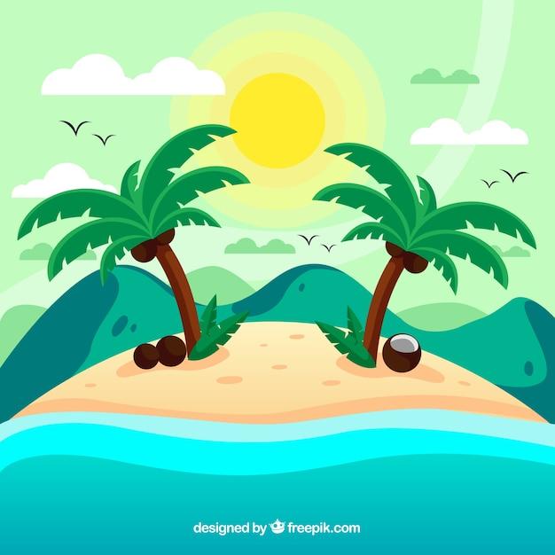 Fond tropical avec des îles et des palmiers Vecteur gratuit