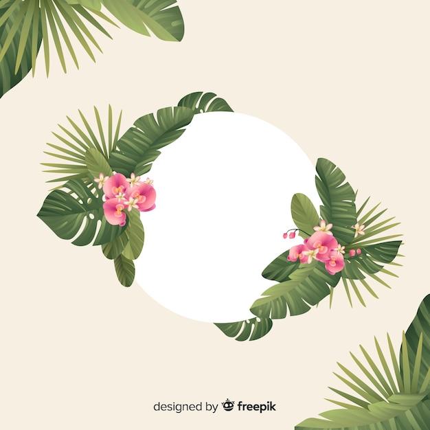Fond tropical naturel avec des feuilles Vecteur gratuit