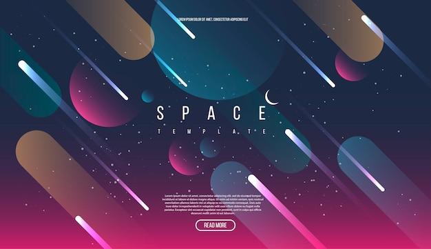 Fond de l'univers vectoriel avec des éléments de l'espace. Vecteur Premium