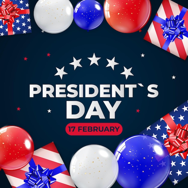 Fond De Vacances Avec Des Ballons Pour L'affiche De La Fête Du Président Américain Vecteur Premium