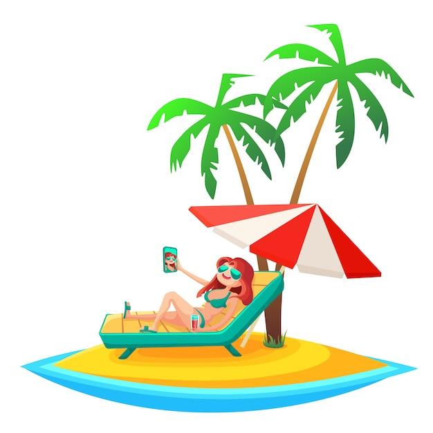 Fond de vacances d'été. Vecteur Premium