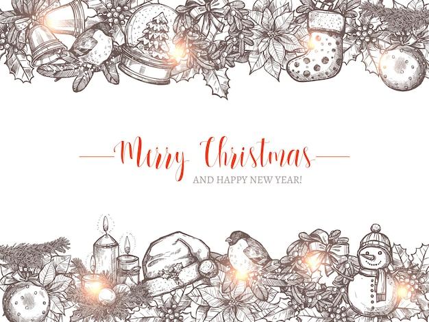 Fond De Vacances Joyeux Noël Avec Des Guirlandes Et Des Frontières De Croquis De Fête. Bonne Année Illustration De Voeux Dessinés à La Main Vecteur Premium
