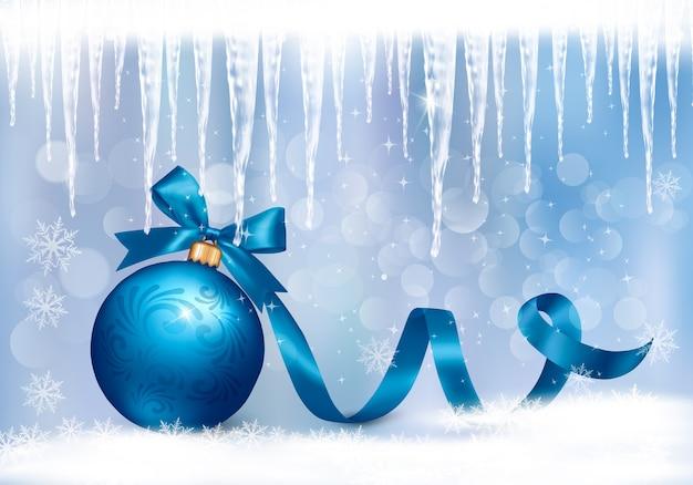 Fond De Vacances Avec Noeud Cadeau Bleu Avec Boule Cadeau. Vecteur Premium
