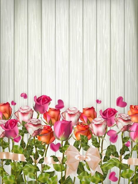 Fond De Vacances Vintage, Fond Romantique Avec Des Roses De Vacances Et Des Pétales De Fleurs Sur Table En Bois Vecteur Premium