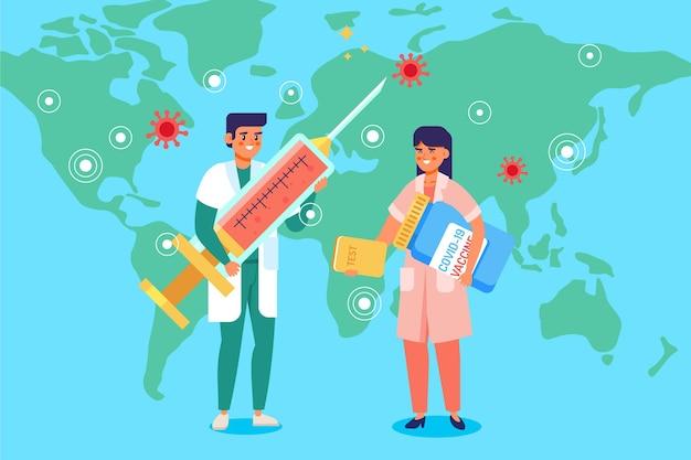 Fond De Vaccin Contre Le Coronavirus Dessiné Main Plat Vecteur gratuit