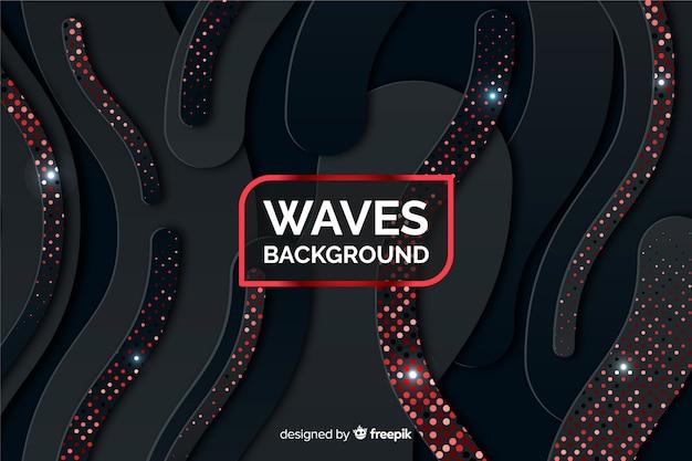 Fond de vagues noires avec effet de demi-teintes Vecteur gratuit