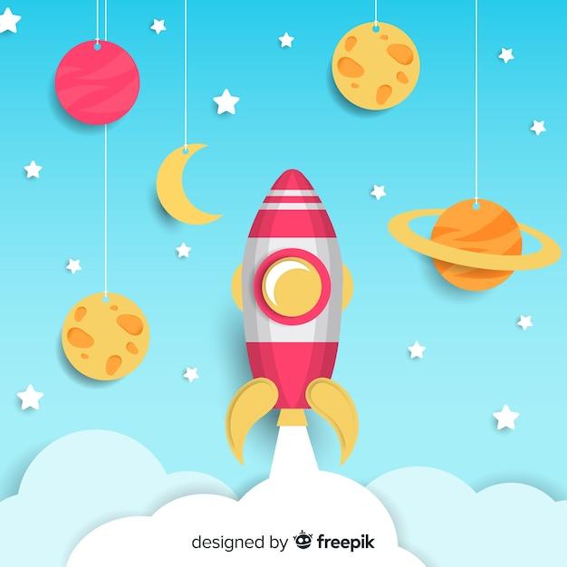 Fond de vaisseau spatial avec design plat Vecteur gratuit