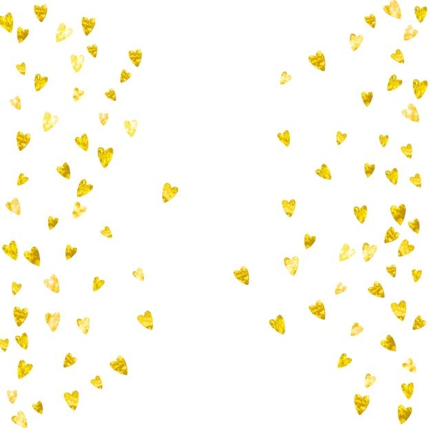 Fond de valentine avec des coeurs de paillettes d'or. 14 février jour. vecteur de confettis pour modèle de fond de saint-valentin. texture dessiné à la main grunge. Vecteur Premium