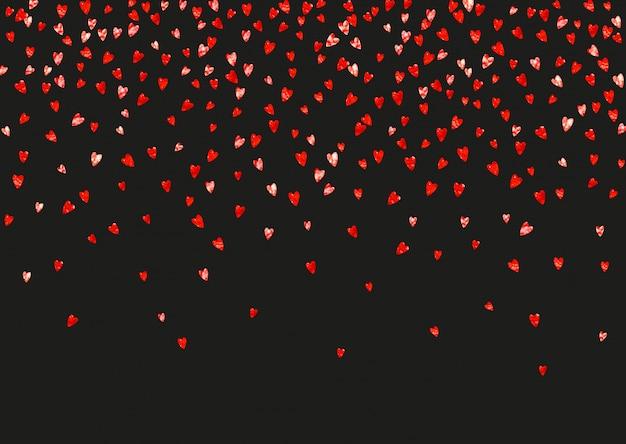 Fond valentine avec des coeurs de paillettes roses Vecteur Premium