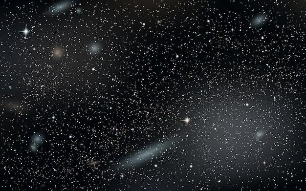 Fond de vecteur ciel nuit avec étoiles, nébuleuse et galaxies Vecteur Premium