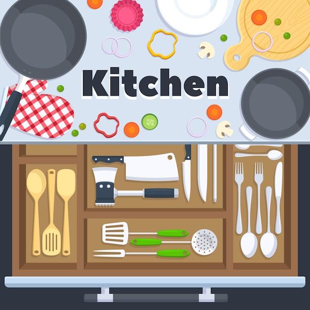 Fond de vecteur de conception de cuisine avec des équipements de restaurant de cuisine. couteau cuillère et une fourchette dans la cuisine Vecteur Premium