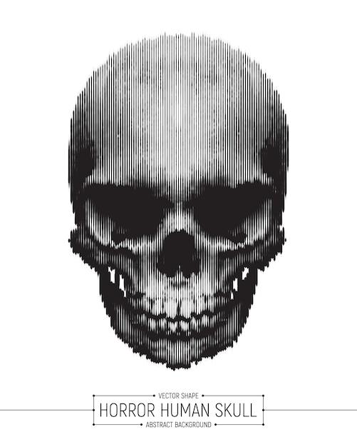 Fond de vecteur crâne humain d'horreur Vecteur Premium