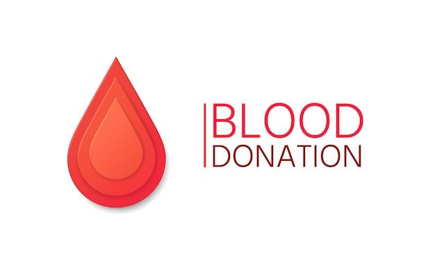 Fond de vecteur de don de sang. goutte de sang en papier. Vecteur Premium
