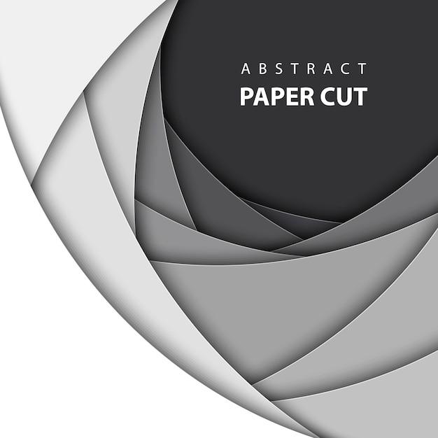 Fond de vecteur avec du papier blanc et noir coupé Vecteur Premium