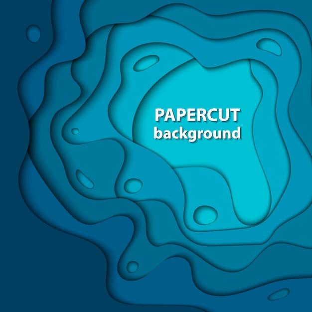 Fond de vecteur avec du papier de couleur bleu profond coupé. Vecteur Premium