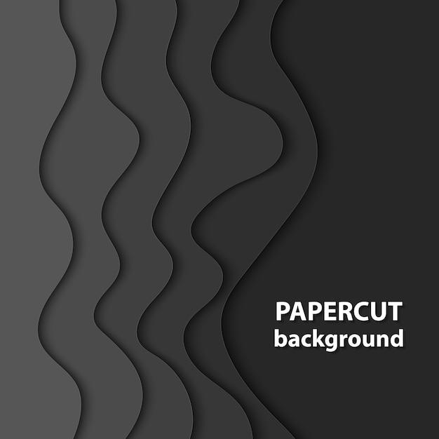 Fond de vecteur avec du papier de couleur noire coupé Vecteur Premium