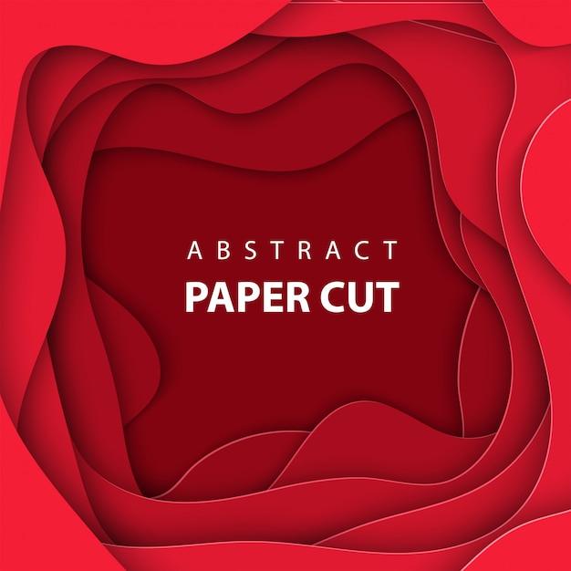 Fond de vecteur avec du papier de couleur rouge foncé coupé Vecteur Premium