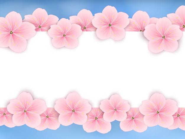 Fond de vecteur avec des fleurs printanières roses. Vecteur Premium
