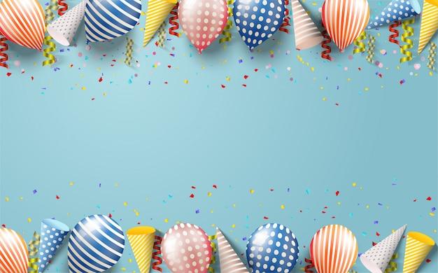 Fond De Vecteur De Joyeux Anniversaire Avec Des Illustrations De Différents Types De Ballons 3d, Coffrets Cadeaux Et Chapeaux D'anniversaire Sur Fond De Mer Bleue. Vecteur Premium