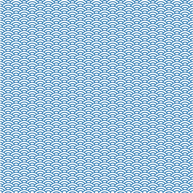 Fond de vecteur de motif de vague japonaise bleue Vecteur Premium
