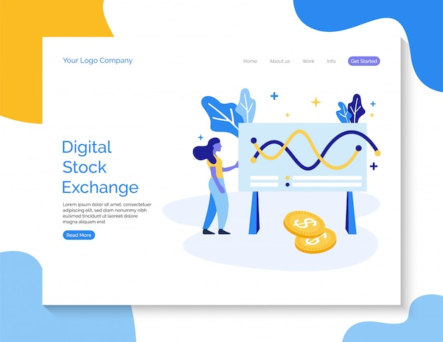 Fond de vecteur numérique bourse pour site web. Vecteur Premium