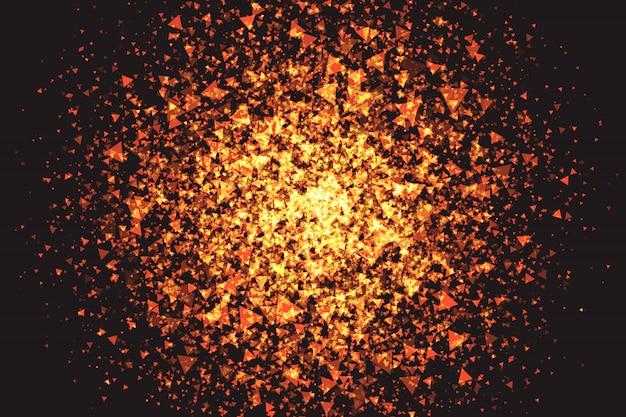 Fond de vecteur de particules triangulaires rougeoyantes dorées Vecteur Premium