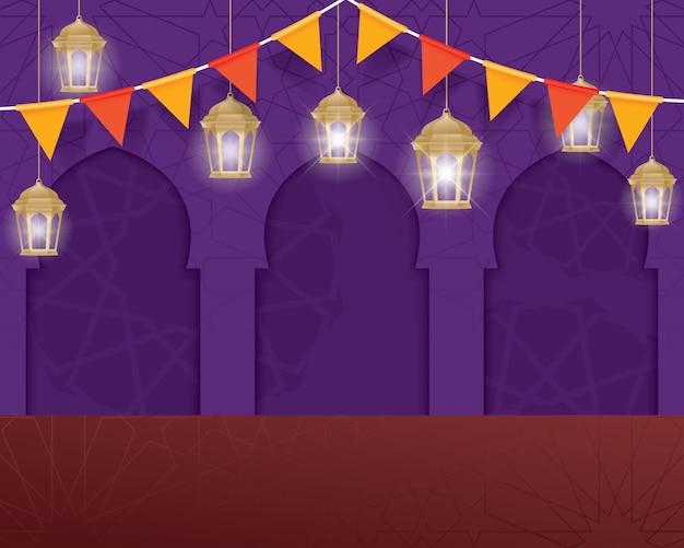 Fond de vecteur ramadan kareem Vecteur Premium