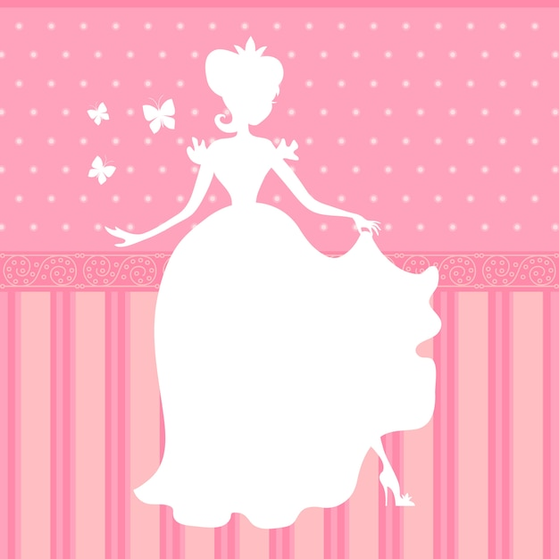 Fond de vecteur rétro rose avec petite silhouette belle princesse Vecteur Premium