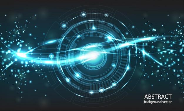 Fond de vecteur de technologie abstraite. la composition a des lumières vives et des particules floues. Vecteur Premium