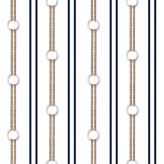 Fond vectorielle continue avec chaîne dessinée à la main et corde nautique estivale en rayures verticales Vecteur Premium